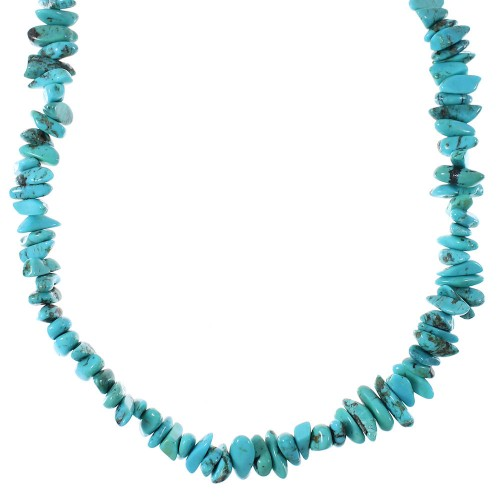 Turquoise And Sterling Silver Southwest Bead Necklace RX94470
