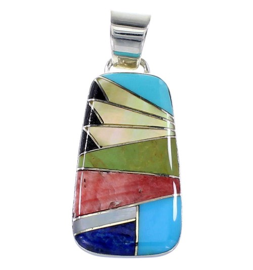 Sterling Silver Multicolor Inlay Pendant AX94492