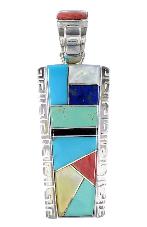 Multicolor Inlay Southwestern Jewelry Sterling Silver Pendant AX94506