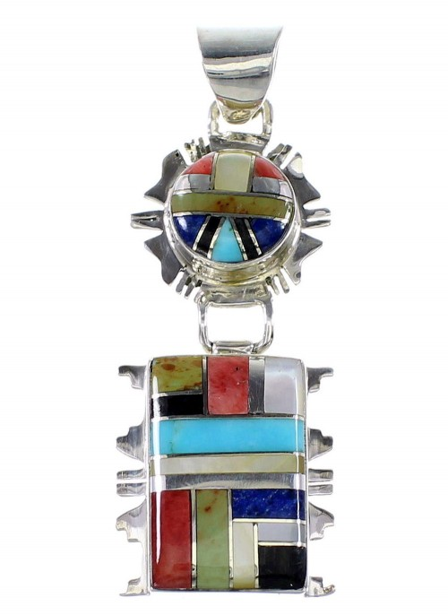 Multicolor Southwestern Jewelry Sterling Silver Pendant AX94508