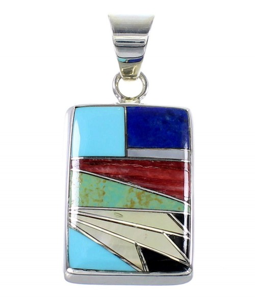 Southwestern Multicolor Inlay Genuine Sterling Silver Pendant AX94516