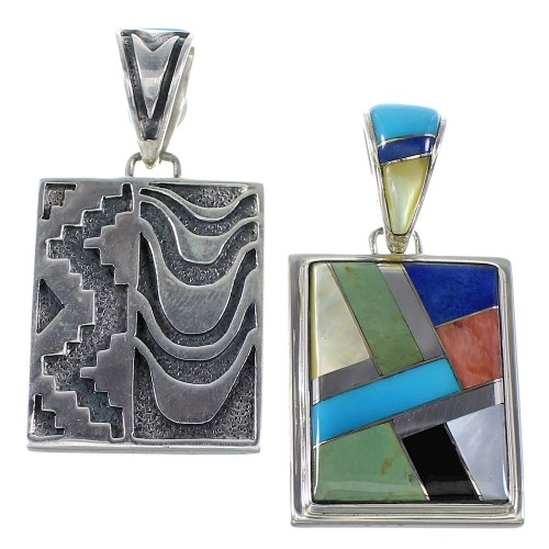 Multicolor Inlay Sterling Silver Reversible Pendant AX94573