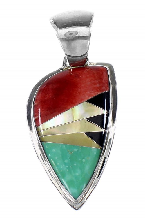 Authentic Sterling Silver Multicolor Southwestern Pendant YX94493
