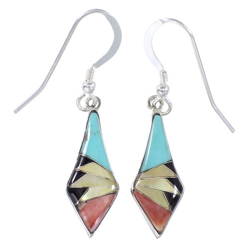 Multicolor And Genuine Sterling Silver Southwest Hook Dangle Earrings YX94693