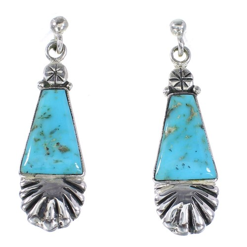 Southwest Turquoise Silver Post Dangle Earrings YX94519