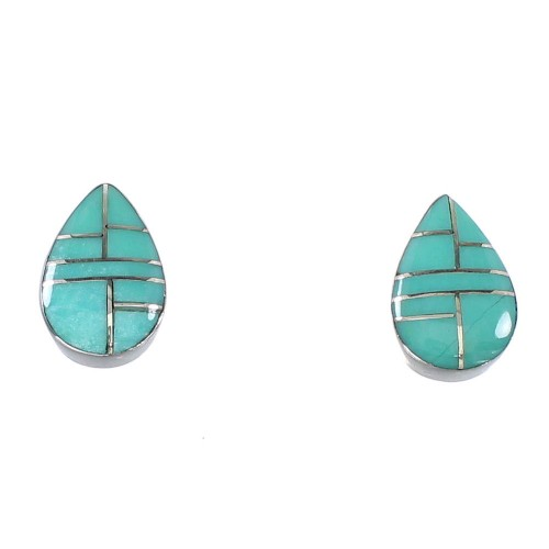 Authentic Sterling Silver Turquoise Inlay Tear Drop Post Earrings AX94616