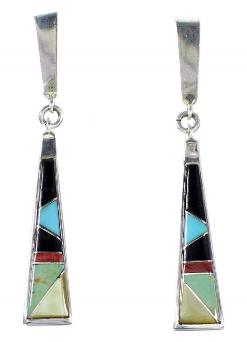 Authentic Sterling Silver Multicolor Post Dangle Earrings RX95085
