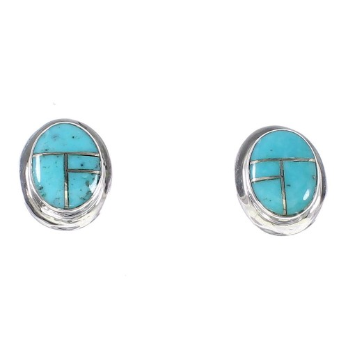 Southwest Turquoise Sterling Silver Post Earrings RX95754