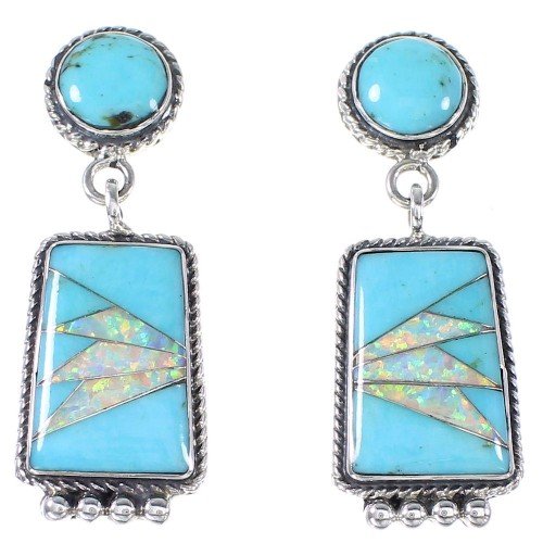 Turquoise And Opal Inlay Sterling Silver Post Dangle Earrings AX94760