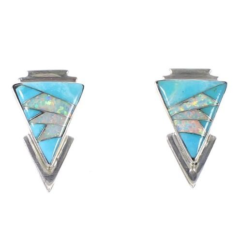 Southwestern Turquoise And Opal Silver Post Earrings AX94804