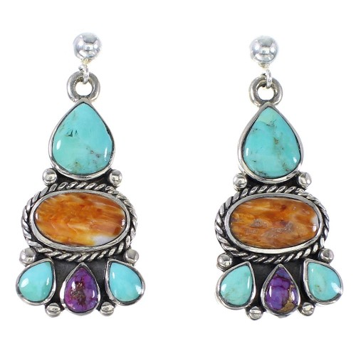 Turquoise And Oyster Shell Authentic Sterling Silver Post Dangle Earrings AX94903