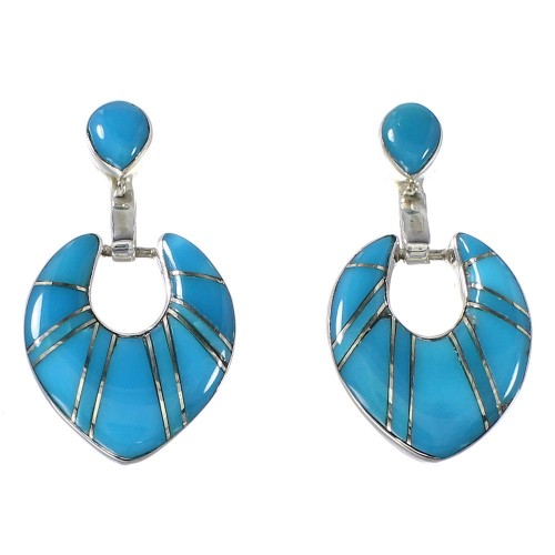 Turquoise Inlay Sterling Silver Southwestern Post Dangle Earrings AX94849