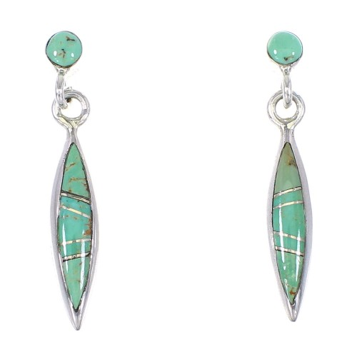 Genuine Sterling Silver Turquoise Inlay Southwestern Jewelry Post Dangle Earrings AX94930