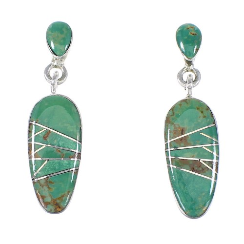 Turquoise Inlay Jewelry Sterling Silver Post Dangle Earrings AX94940