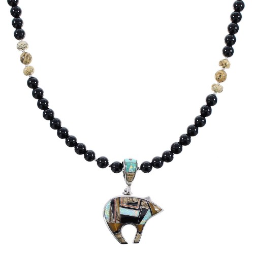 Multicolor Southwestern Sterling Silver Bear Reversible Necklace Set AX94890