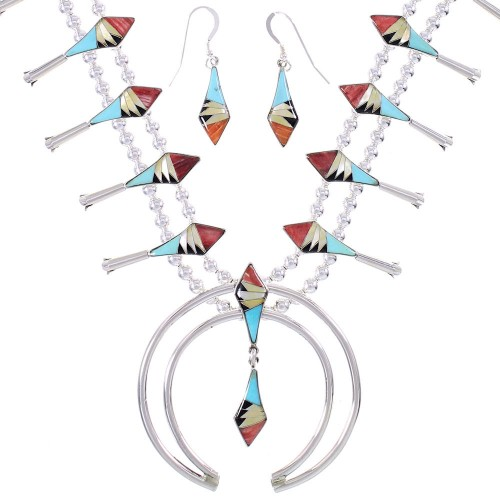 Sterling Silver Multicolor Inlay Squash Blossom Necklace Set AX94412