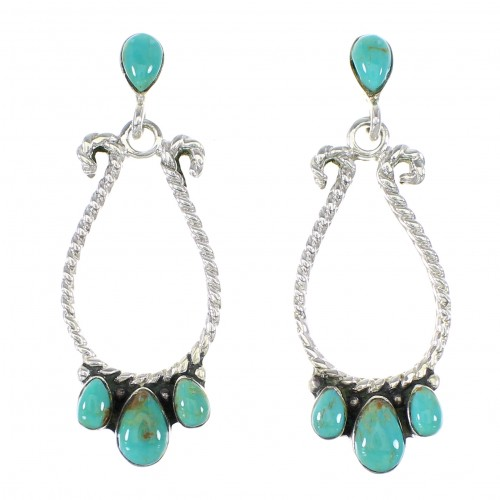 Silver Turquoise Jewelry Post Dangle Earrings AX95138