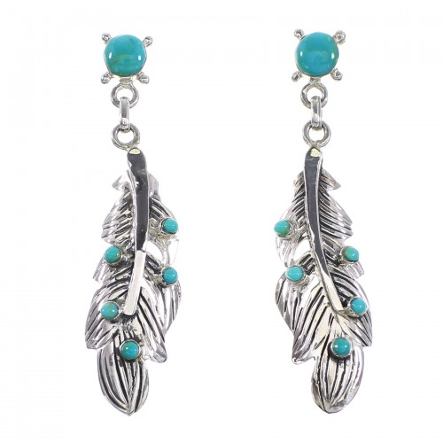 Turquoise Silver Feather Post Dangle Earrings AX95199