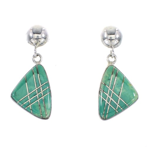 Silver Turquoise Southwest Post Dangle Earrings AX95586