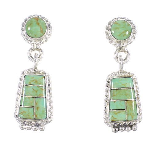 Genuine Sterling Silver Turquoise Inlay Post Dangle Earrings AX95624