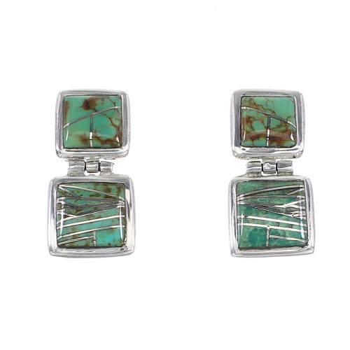 Turquoise Sterling Silver Post Dangle Earrings AX95661