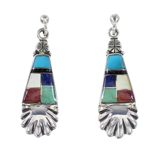 Sterling Silver Multicolor Inlay Post Dangle Earrings AX95338