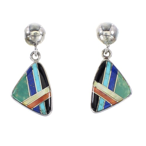 Authentic Sterling Silver Multicolor Southwestern Post Dangle Earrings AX95342