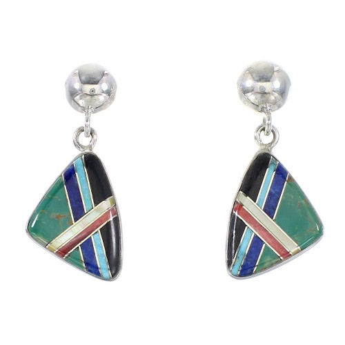 Genuine Sterling Silver Multicolor Inlay Southwest Post Dangle Earrings AX95345