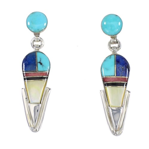 Multicolor Inlay Southwestern Authentic Sterling Silver Post Dangle Earrings AX95372