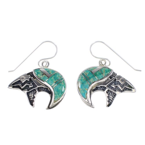 Turquoise Inlay Authentic Sterling Silver Bear And Arrow Hook Dangle Earrings AX95694