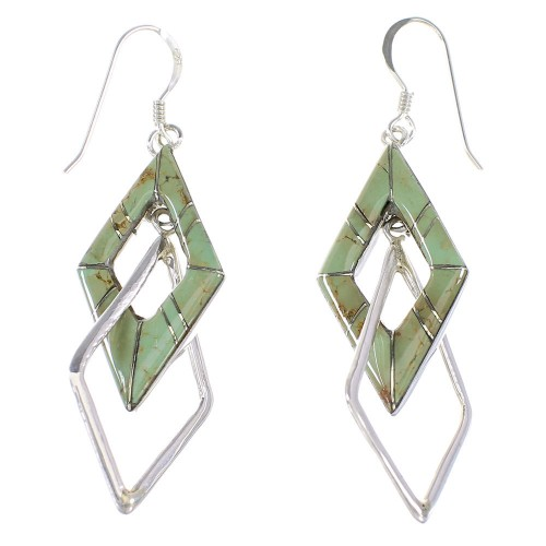 Turquoise Inlay Silver Hook Dangle Earrings AX95701