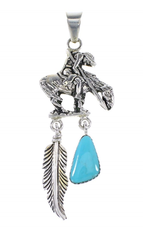 Turquoise Sterling Silver End Of The Trail Feather Pendant AX95275