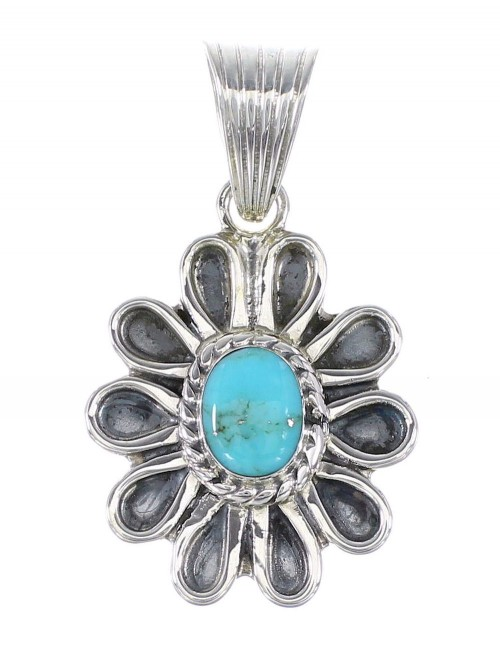 Turquoise Sterling Silver Jewelry Southwestern Flower Pendant AX95298