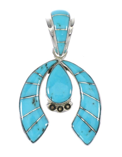 Southwest Sterling Silver Turquoise Naja Jewelry Pendant AX95312