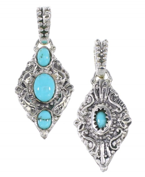 Turquoise Sterling Silver Reversible Pendant AX95331