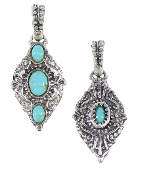Turquoise Genuine Sterling Silver Reversible Pendant AX95332