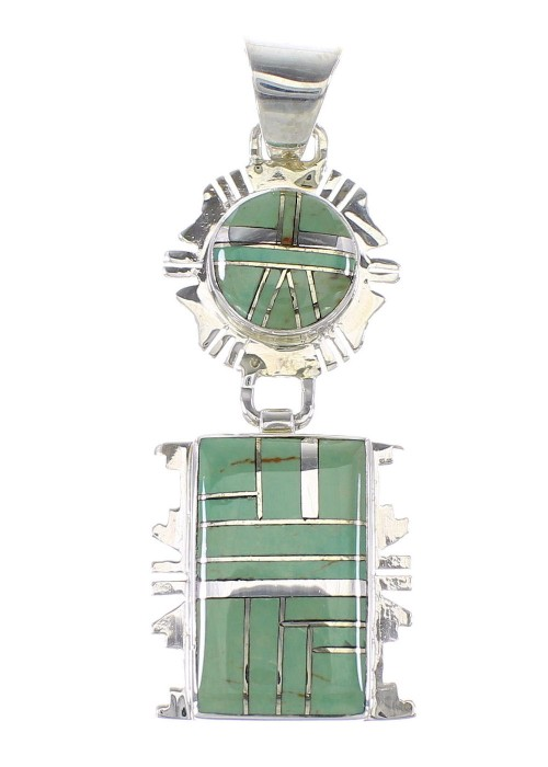 Turquoise Inlay Genuine Sterling Silver Jewelry Southwest Pendant AX95479