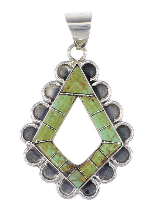 Turquoise Inlay Southwest Sterling Silver Pendant AX95492