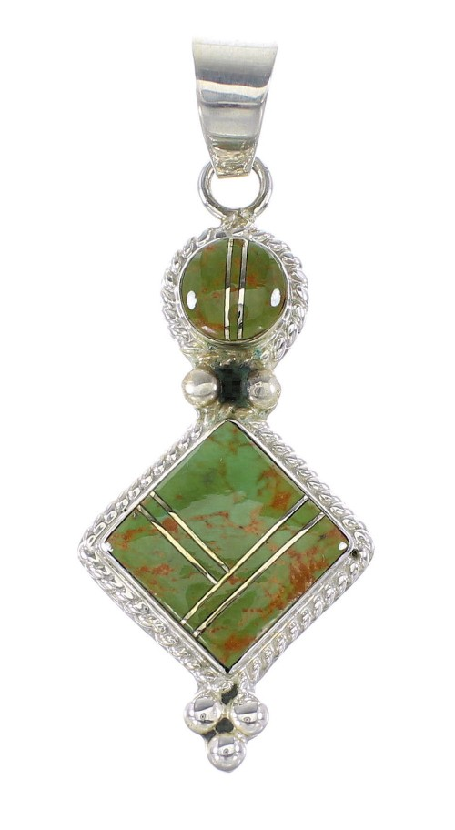 Sterling Silver Turquoise Inlay Southwest Pendant AX95539