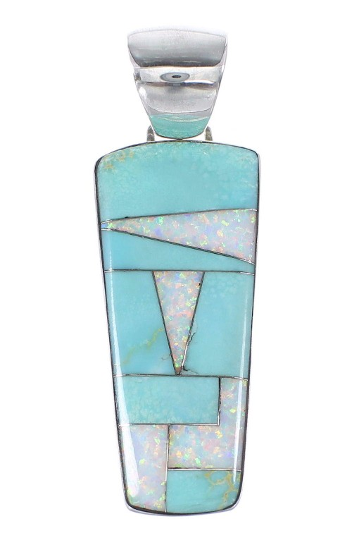 Opal Turquoise Inlay Sterling Silver Southwest Pendant RX95470