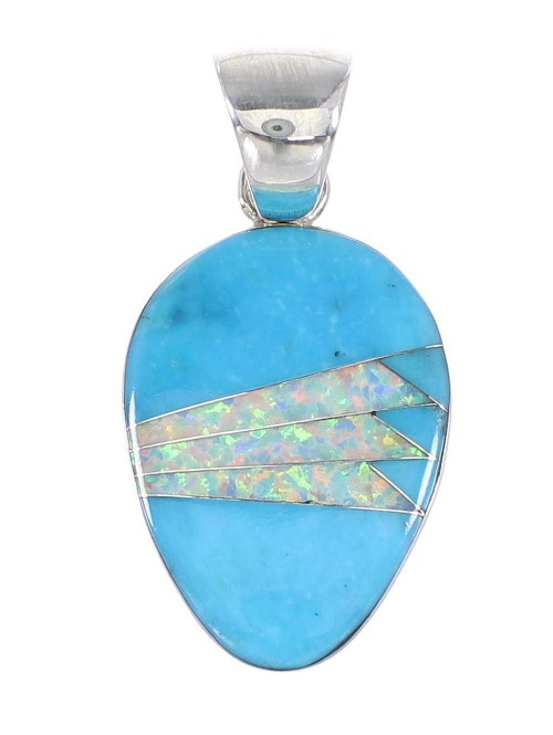 Genuine Sterling Silver Turquoise And Opal Pendant RX95495