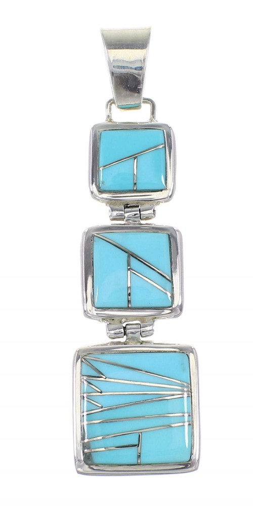Genuine Sterling Silver Turquoise Inlay Southwest Pendant AX96466
