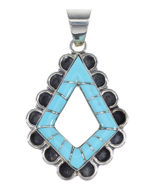 Turquoise Genuine Sterling Silver Southwest Jewelry Pendant AX96480