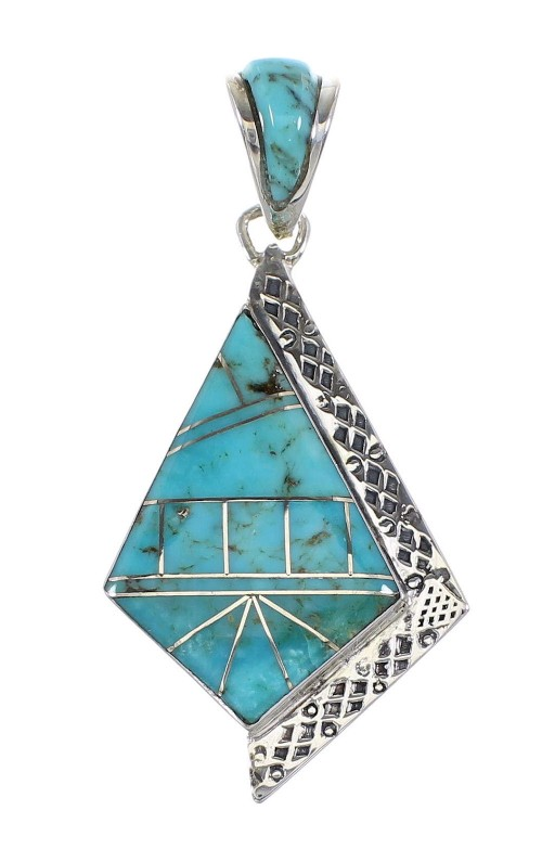 Sterling Silver Turquoise Inlay Pendant AX96541