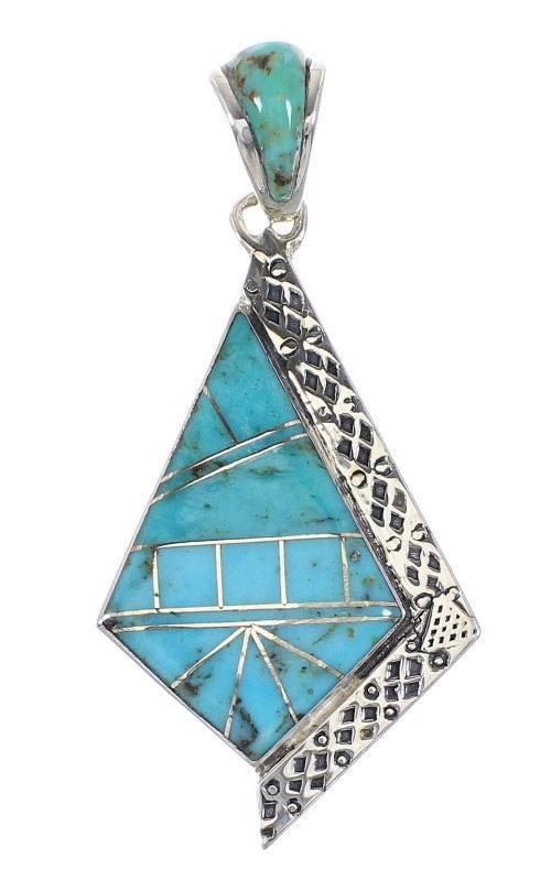 Sterling Silver Southwest Turquoise Inlay Pendant AX96542
