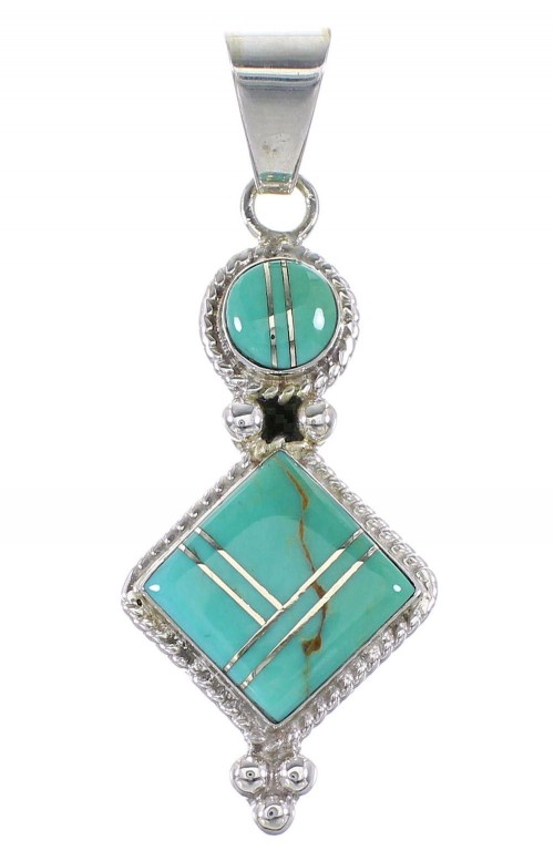 Turquoise Inlay Sterling Silver Jewelry Southwestern Pendant AX96549