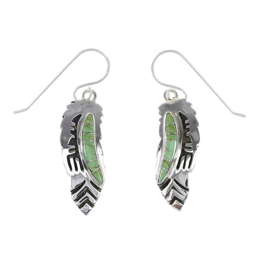 Sterling Silver Turquoise Southwestern Feather Hook Dangle Earrings AX95835