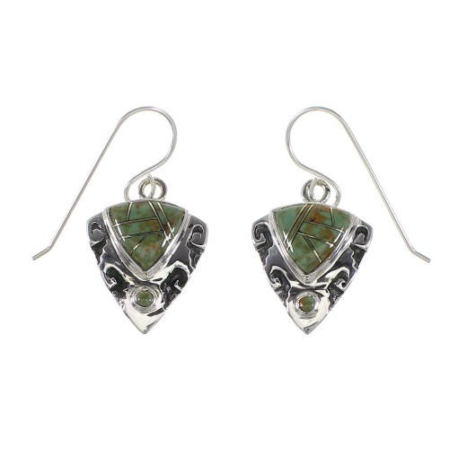 Turquoise Silver Southwest Arrowhead And Waterwave Hook Dangle Earrings AX95867
