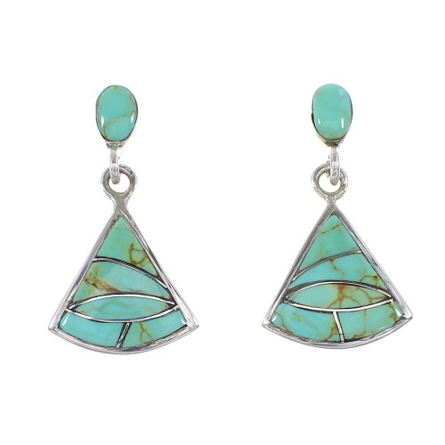 Authentic Sterling Silver Turquoise Inlay Post Dangle Earrings AX95982