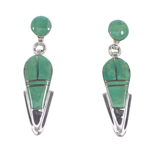 Southwest Sterling Silver Turquoise Post Dangle Earrings AX95986
